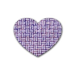 Woven1 White Marble & Purple Marble Rubber Coaster (heart)