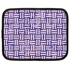 Woven1 White Marble & Purple Marble Netbook Case (xxl)  by trendistuff