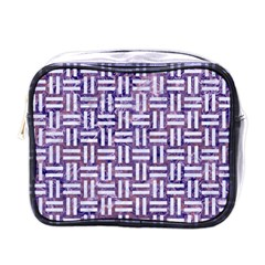 Woven1 White Marble & Purple Marble Mini Toiletries Bags by trendistuff