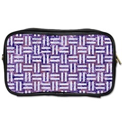 Woven1 White Marble & Purple Marble Toiletries Bags by trendistuff