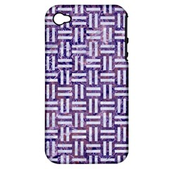 Woven1 White Marble & Purple Marble Apple Iphone 4/4s Hardshell Case (pc+silicone) by trendistuff