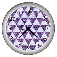 Triangle3 White Marble & Purple Marble Wall Clocks (silver)  by trendistuff