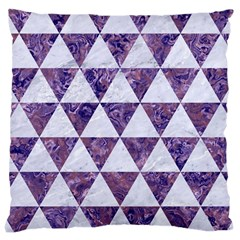 Triangle3 White Marble & Purple Marble Large Cushion Case (two Sides) by trendistuff
