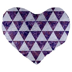 Triangle3 White Marble & Purple Marble Large 19  Premium Flano Heart Shape Cushions by trendistuff
