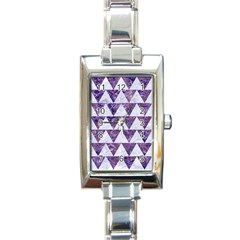 Triangle2 White Marble & Purple Marble Rectangle Italian Charm Watch by trendistuff