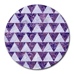 Triangle2 White Marble & Purple Marble Round Mousepads by trendistuff