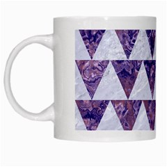 Triangle2 White Marble & Purple Marble White Mugs