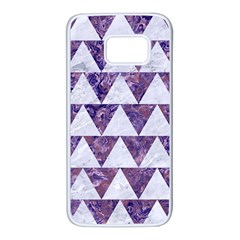 Triangle2 White Marble & Purple Marble Samsung Galaxy S7 White Seamless Case