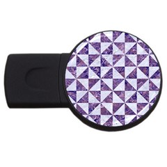 Triangle1 White Marble & Purple Marble Usb Flash Drive Round (2 Gb) by trendistuff