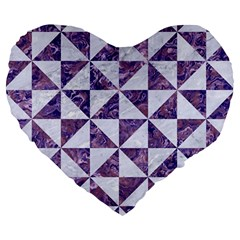 Triangle1 White Marble & Purple Marble Large 19  Premium Heart Shape Cushions by trendistuff