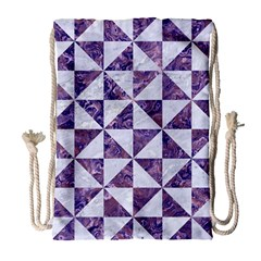Triangle1 White Marble & Purple Marble Drawstring Bag (large)