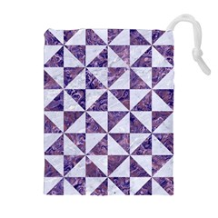 Triangle1 White Marble & Purple Marble Drawstring Pouches (extra Large)