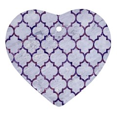 Tile1 White Marble & Purple Marble (r) Ornament (heart)