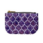 TILE1 WHITE MARBLE & PURPLE MARBLE Mini Coin Purses Front