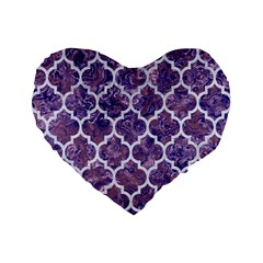 Tile1 White Marble & Purple Marble Standard 16  Premium Flano Heart Shape Cushions by trendistuff