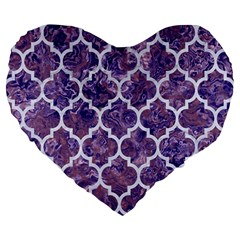 Tile1 White Marble & Purple Marble Large 19  Premium Flano Heart Shape Cushions by trendistuff