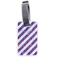 Stripes3 White Marble & Purple Marble (r) Luggage Tags (one Side)  by trendistuff