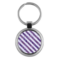 Stripes3 White Marble & Purple Marble Key Chains (round)  by trendistuff