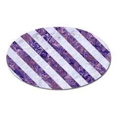 Stripes3 White Marble & Purple Marble Oval Magnet by trendistuff