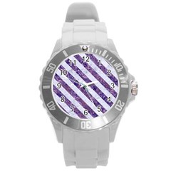 Stripes3 White Marble & Purple Marble Round Plastic Sport Watch (l) by trendistuff