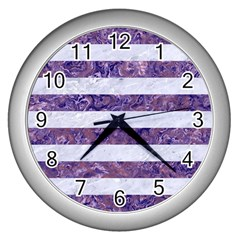Stripes2white Marble & Purple Marble Wall Clocks (silver)  by trendistuff