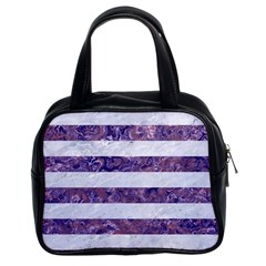 Stripes2white Marble & Purple Marble Classic Handbags (2 Sides) by trendistuff