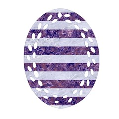 Stripes2white Marble & Purple Marble Oval Filigree Ornament (two Sides) by trendistuff