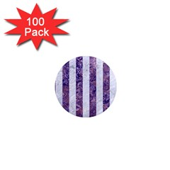 Stripes1 White Marble & Purple Marble 1  Mini Magnets (100 Pack)  by trendistuff
