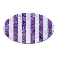 Stripes1 White Marble & Purple Marble Oval Magnet by trendistuff