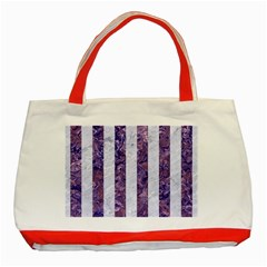 Stripes1 White Marble & Purple Marble Classic Tote Bag (red) by trendistuff