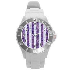 Stripes1 White Marble & Purple Marble Round Plastic Sport Watch (l) by trendistuff