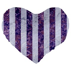 Stripes1 White Marble & Purple Marble Large 19  Premium Heart Shape Cushions by trendistuff