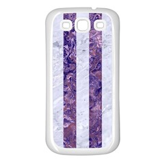 Stripes1 White Marble & Purple Marble Samsung Galaxy S3 Back Case (white) by trendistuff