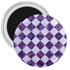 Square2 White Marble & Purple Marble 3  Magnets by trendistuff