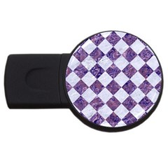 Square2 White Marble & Purple Marble Usb Flash Drive Round (2 Gb) by trendistuff