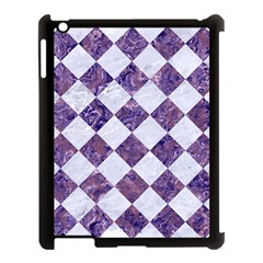 Square2 White Marble & Purple Marble Apple Ipad 3/4 Case (black) by trendistuff