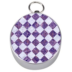 Square2 White Marble & Purple Marble Silver Compasses by trendistuff