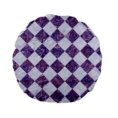 Square2 White Marble & Purple Marble Standard 15  Premium Flano Round Cushions by trendistuff