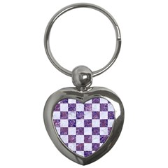 Square1 White Marble & Purple Marble Key Chains (heart)  by trendistuff