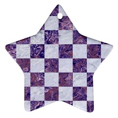 Square1 White Marble & Purple Marble Star Ornament (two Sides) by trendistuff