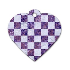Square1 White Marble & Purple Marble Dog Tag Heart (one Side) by trendistuff