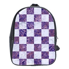 Square1 White Marble & Purple Marble School Bag (large) by trendistuff