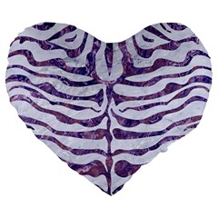 Skin2 White Marble & Purple Marble (r) Large 19  Premium Flano Heart Shape Cushions by trendistuff