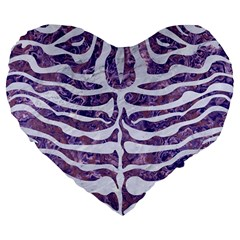Skin2 White Marble & Purple Marble Large 19  Premium Flano Heart Shape Cushions by trendistuff