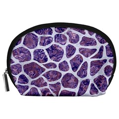 Skin1 White Marble & Purple Marble (r) Accessory Pouches (large)  by trendistuff