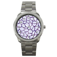 Skin1 White Marble & Purple Marble Sport Metal Watch