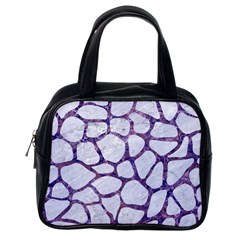 Skin1 White Marble & Purple Marble Classic Handbags (one Side) by trendistuff