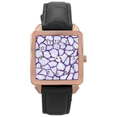 Skin1 White Marble & Purple Marble Rose Gold Leather Watch  by trendistuff