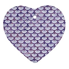 Scales3 White Marble & Purple Marble (r) Heart Ornament (two Sides)