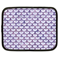 Scales3 White Marble & Purple Marble (r) Netbook Case (large) by trendistuff
